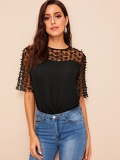 Bow-knot Mesh Shoulder Top