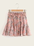 Frill Trim Ditsy Floral Skirt