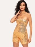 Sequin Zip Back Tube Romper