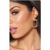 Gold scratch Effect Rectangle Door knocker Earrings