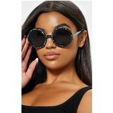 Black Moon And Stars Glitter Round Sunglasses