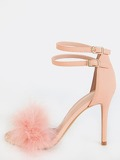 Single Sole Feather High Heels Pink