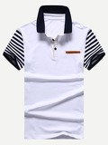 Men Contrast Striped Sleeve Polo Shirt