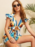 Stripe And Floral Print Tie Front Playsuit