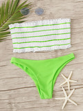 Striped Shirred Bandeau With Neon Lime Hipster Bikini
