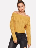 Off-shoulder Solid Knit Jumper