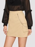 Flap Pocket Side Utility Skirt With Chain