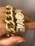Letter Decor Bracelet Set 2pcs