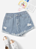 Light Wash Rolled Hem Ripped Denim Shorts