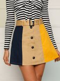 Cut-and-sew Button Front Buckle Belted Skirt