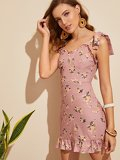 Floral Print Pep Hem Shirred Cami Dress