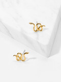 Snake Shaped Stud Earrings 1pair