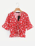 Calico Print Drawstring Front Ruffle Blouse