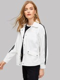 Tuxedo Stripe Drop Shoulder Denim Jacket
