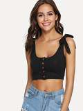 Tie Shoulder Button Up Crop Tank Top