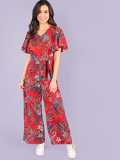 Ruffle Sleeve Belted Floral Print Jumpsuit