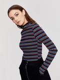 Mock Neck Ribbed Knit Striped Tee