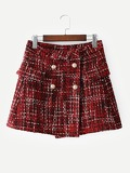 Double-breasted Plaid Tweed Skirt
