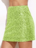 Neon Green Sequin Skirt