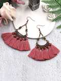 Bead Tassel Drop Earrings 1pair