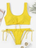 Scoop Neck Top with Tie Side Bikini Set
