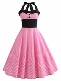 50s Polka Dot Contrast Panel Halter Dress