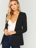 Hook And Eye Closure Solid Blazer