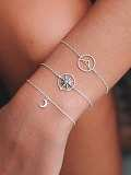 Moon & Circle Detail Bracelet Set 3pcs