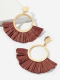 Fan Lafite Hoop Drop Earrings 1pair
