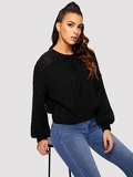 Lantern Sleeve Mixed Knit Solid Jumper