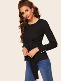Tie Front Zip Back Button Cuff Blouse