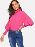 Neon Pink High Neck Lantern Sleeve Top