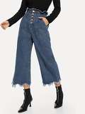 Button Front Frayed Hem Wide Leg Jeans