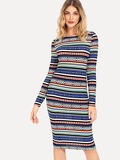 Aztec Striped Pencil Dress
