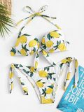 Random Lemon Print Underwired Top With Tie Side Bikini