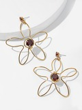 Hollow Flower Drop Earrings 1pair