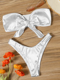 Bow Tie Satin Bandeau With High Cut Bikini