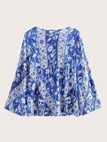 Bell Decoration Floral Print Blouse