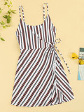 Striped Knot Side Wrap Cami Dress