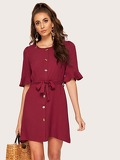 Self Tie Button Front Solid Dress