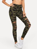 Camo Print Ripped Leggings