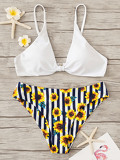 Triangle Top With Flower Print Bikini Set