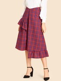Ruffle Trim Asymmetrical Plaid Skirt