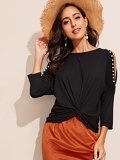 Twist Front Pearls Beaded Cold Shoulder Tee
