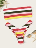 Striped Ladder Cut Out Bandeau With High-leg Bikini