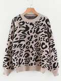 Drop Shoulder Leopard Print Jumper