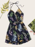 Plants Print Ruffle Hem Backless Halter Romper