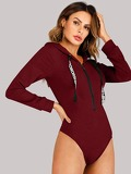 Quarter Zip Drawstring Detail Hooded Bodysuit