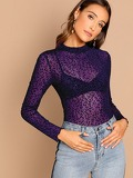 Mock Neck Leopard Mesh Top