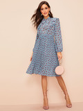 Dot Print Tie Neck Ruffle Trim Pleated Dress